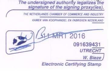 Electronic certifying stamp Chamber of Commerce.